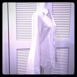 BCBG WHITE BUTTON DOWN Convertible sleeves highlow